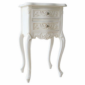 Antique White Rococo Hand Carved French Bedside Table (2 Drawers, 38 x 30 x 74cm)