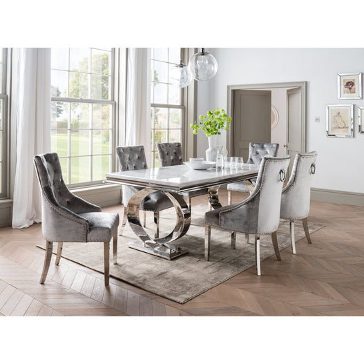 Vida Selene White Marble And Steel 200cm Dining Table with 6 Belvedere Pewter Chrome Leg Chairs