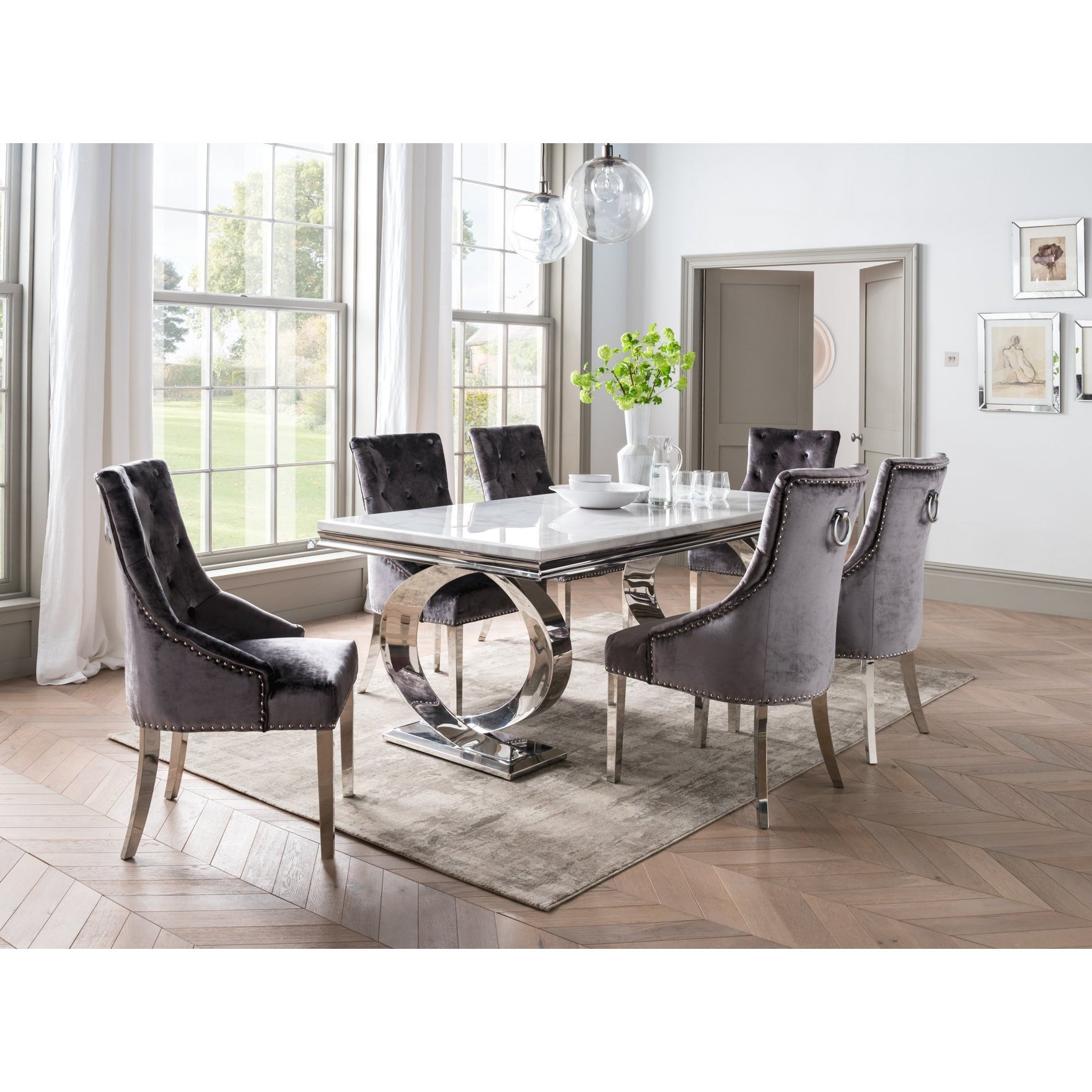 Vida Selene White Marble And Steel 200cm Dining Table With 6 Belvedere