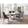 Vida Selene White Marble And Steel 200cm Dining Table with 6 Belvedere Charcoal Chrome Leg Chairs