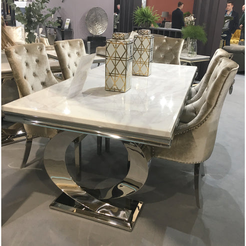 Vida Selene White Marble And Steel 200cm Dining Table with 6 Belvedere Champagne Chrome Leg Chairs