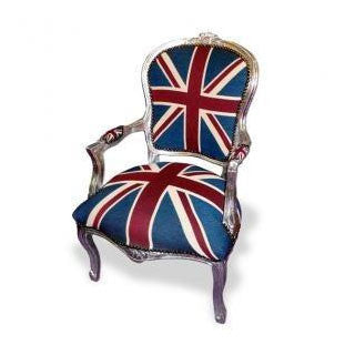 Union jack silver frame french arm chair