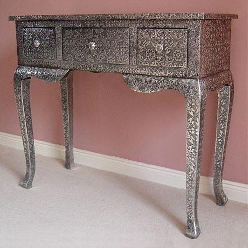 Blackened silver embossed metal console / dressing table