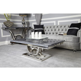 Saturn Grey Marble and Chrome Coffee Table (42 x 70 x 130cm)