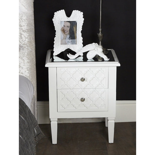 Tangier White Wood 2 Drawer Bedside Table (48 x 34 x 58.5cm)
