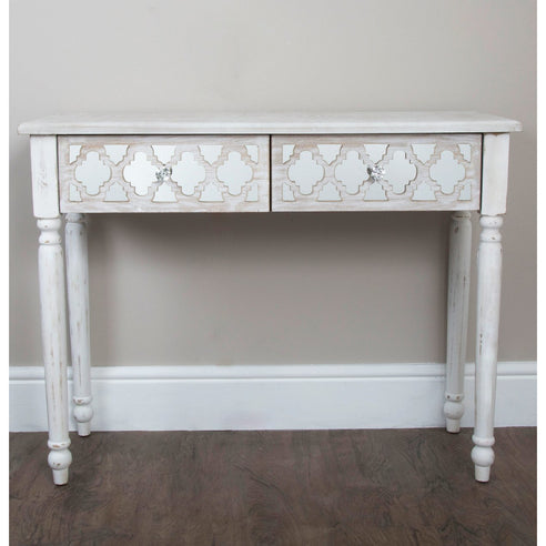 New Hampshire Washed Ash 2 Drawer Console Table (107 x 36 x 82cm)