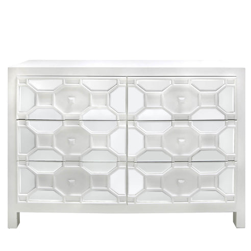 White Odeon Geometric Wooden Chest of 6 Drawers (92 x 38 x 127cm)