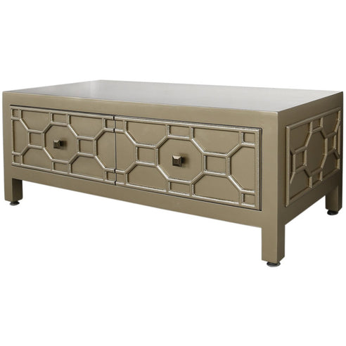 Gold Odeon Geometric Wooden 2 Drawer Coffee Table (57 x 45 x 122cm)