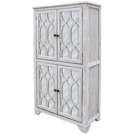 Virginia Washed Ash 4 Door Storage Unit (151 x 40 x 83cm)