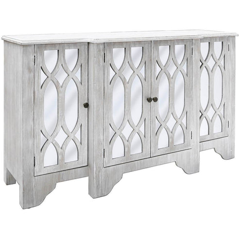 Virginia Washed Ash 4 Door Sideboard (93 x 46 x 153cm)
