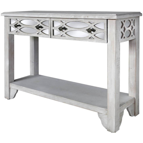 Virginia Washed Ash and Mirror 2 Drawer Console Table (78 x 35 x 110cm)