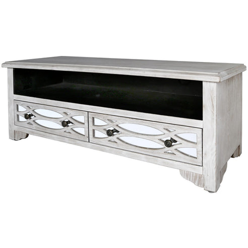 Virginia Washed Ash and Mirror 2 Drawer Entertainment Unit (46 x 40 x 120cm)
