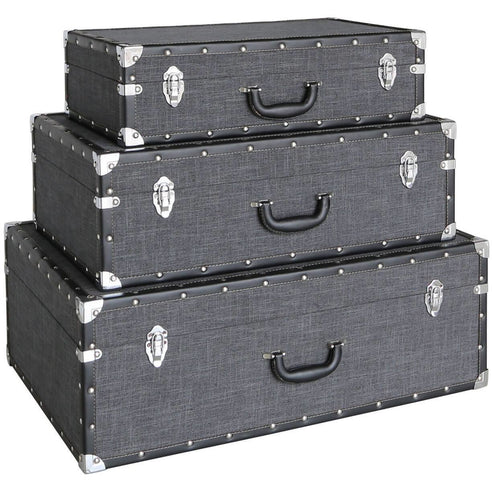 Brooklyn Charcoal Grey Storage Suitcases - Set Of 3 (28.5 x 58 x 80cm)