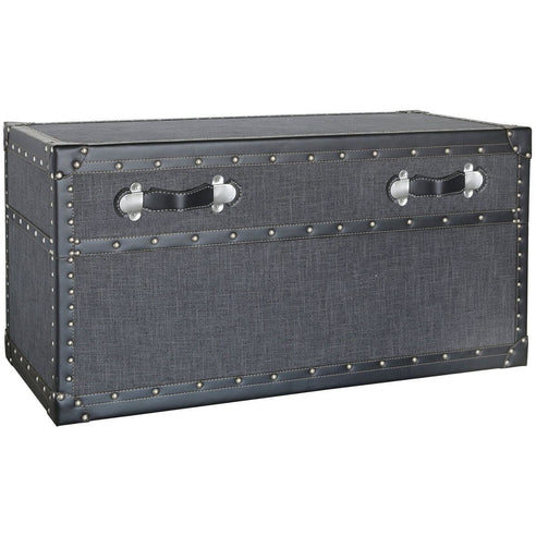 Brooklyn Charcoal Grey Trunk Coffee Table (48 x 45 x 97cm)