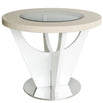 Marlena Light Ivory Walnut Round Side Table (67d)