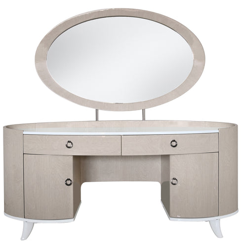 Marlena Light Ivory Walnut 2 Drawer 2 Door Dressing Table (80 x 62 x 173cm)
