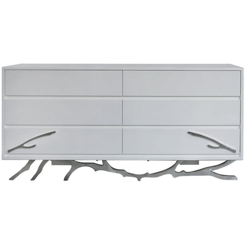 Monterey White and Stainless Steel Wide 6 Drawer Chest (168 x 48 x 77cm)