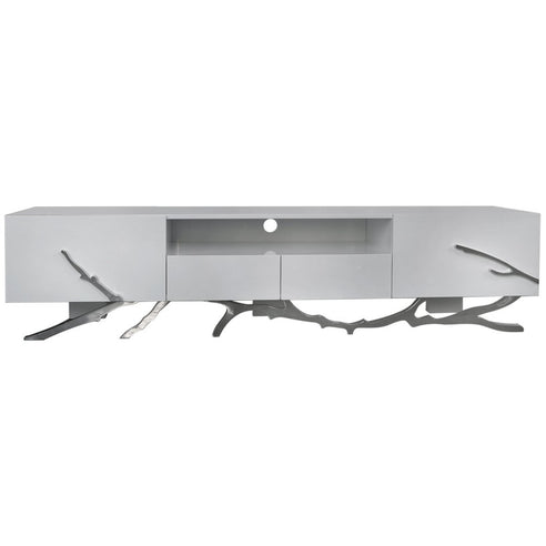 Monterey White and Stainless Steel TV Large Media Unit (200 x 47 x 47.5cm)