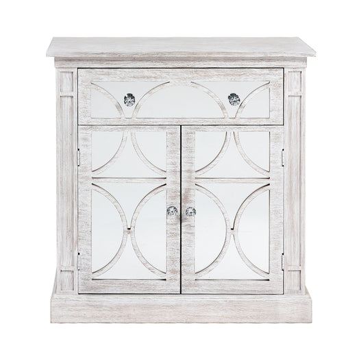 Amalfi White Washed Mirrored 2 Door 1 Drawer Sideboard
