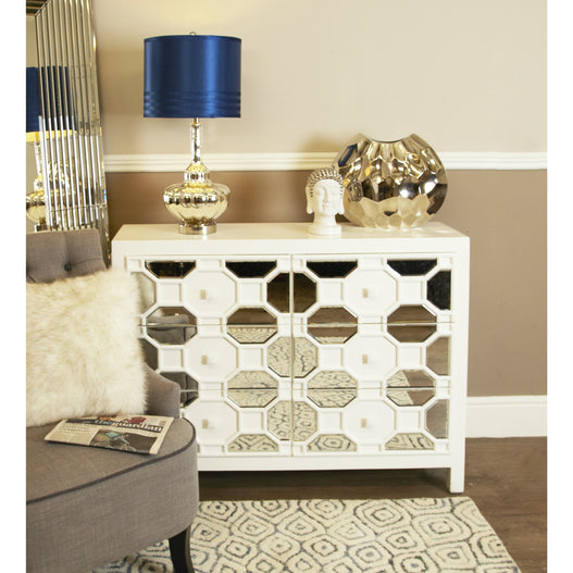 White Odeon Geometric Wood Chest of 6 Drawers (92 x 38 x 127cm)
