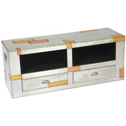 Silver and copper industrial aluminium TV media unit