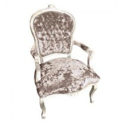 Mushroom Crushed Velvet French 'Louis Style' Armchair with Silver Gilt Frame
