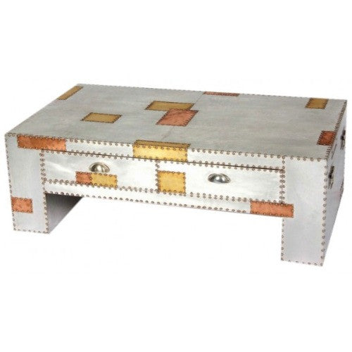 Silver and copper industrial aluminium coffee table