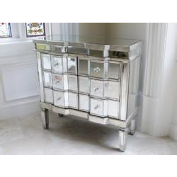 Venetian Glass Vintage Glam Mirrored Silver Chest of 6 Drawers (81 x 35.5 x 80cm)