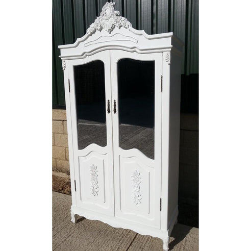Laura white half mirrored french armoire