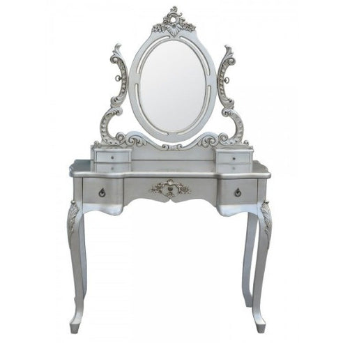 Silver shabby chic dressing table and mirror set