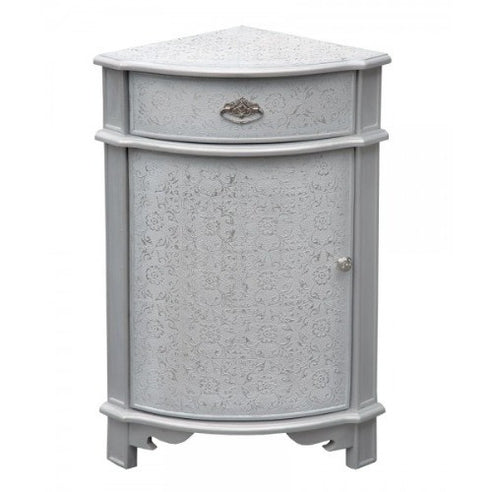 Frosted silver embossed metal corner cabinet