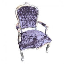 Lilac Crushed Velvet French 'Louis Style' Armchair with Silver Gilt Frame