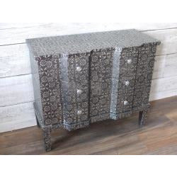 Blackened Silver Embossed Chest of Drawers (6 Drawers, 80 x 36 x 69cm)