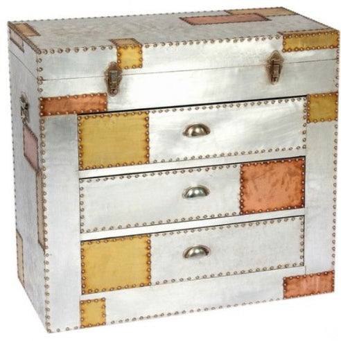 Silver and copper industrial aluminium chest of drawers