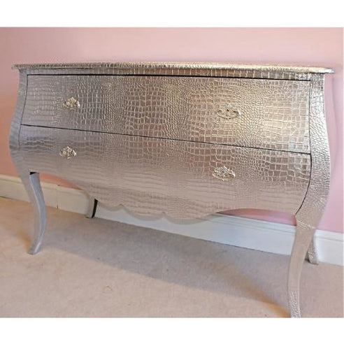 Mock croc embossed silver large chest of drawers