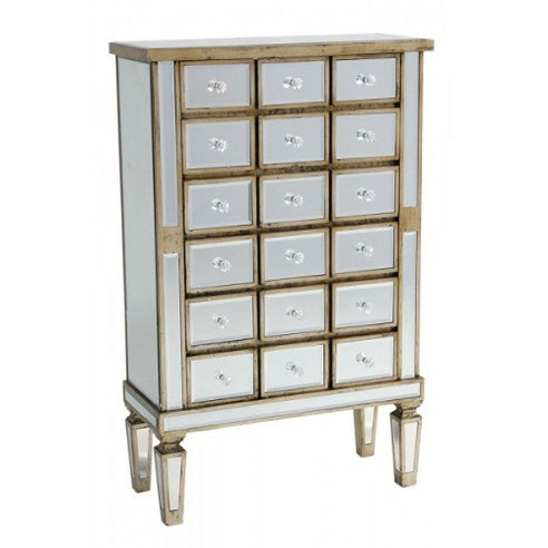 Venetian glass silver gilded 18 drawer chest