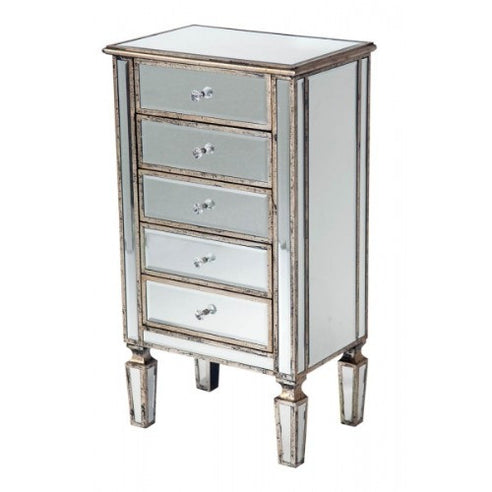 Venetian mirrored silver gilded bedside chest