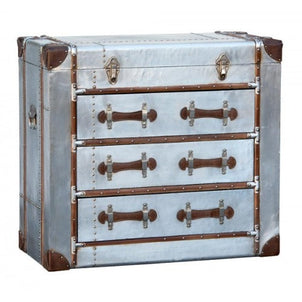 Silver Industrial Style Aluminium Chest Of 3 Drawers (90 X 43.5 X 81cm)