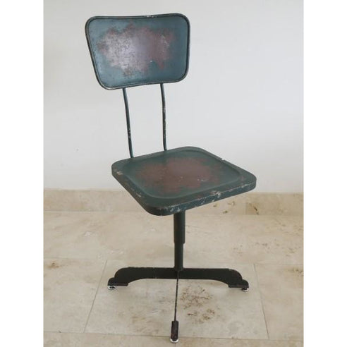 Retro industrial black metal swivel chair