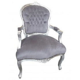 Grey velvet french arm chair