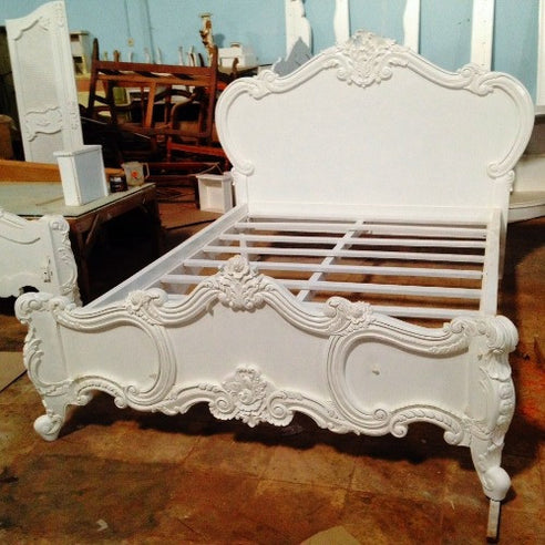 "Vintage antique white mahogany double 4'6"" french bed - cherub"