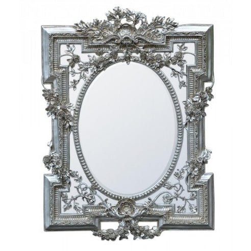 Large vintage silver french rococo mirror