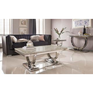 Vida Arianna Cream Marble Polished Stainless Steel Coffee Table (130 x 70 x 44.5cm)