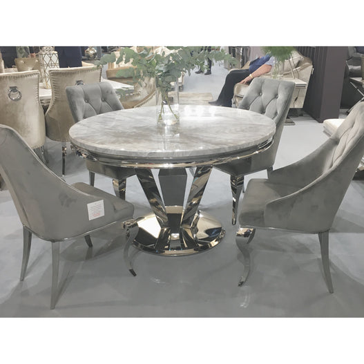 Vida Arturo Grey Marble And Steel 130cm Round Dining Table with 4 Cassia Grey Chrome Leg Chairs
