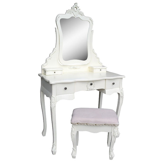 Vintage Antique White Dressing Table, Mirror and Stool Set (88 x 45 x 157cm)