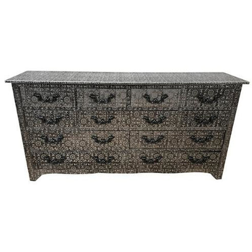 Blackened Silver Embossed Large Sideboard / Chest of 12 Drawers (150 x 38 x 76cm)