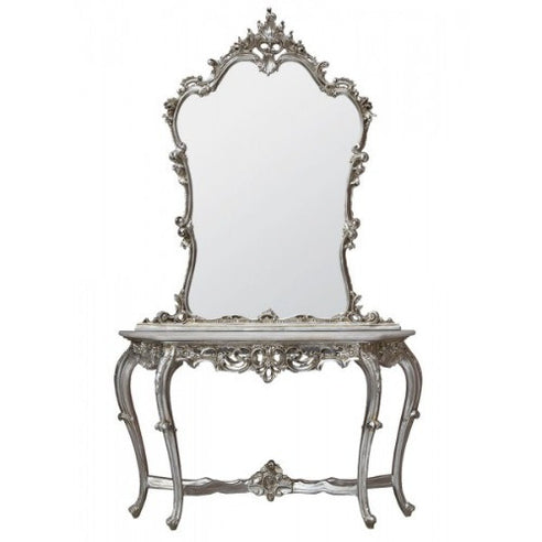 Silver Framed Mirror and Console Table with White Marble Top