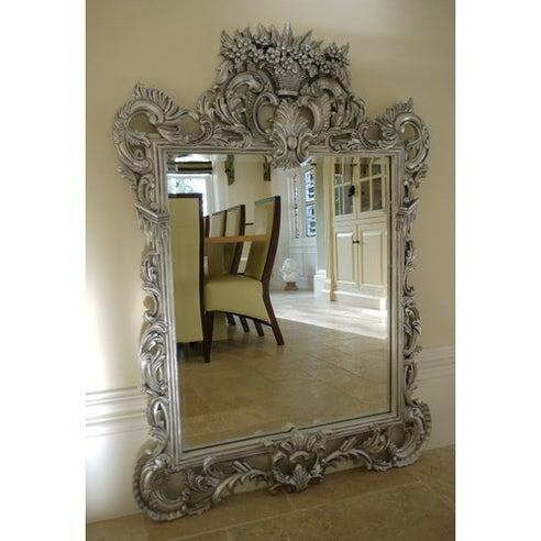 French antique silver flower basket mirror