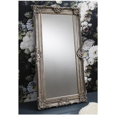 Silver french baroque floor leaner mirror - Stretton