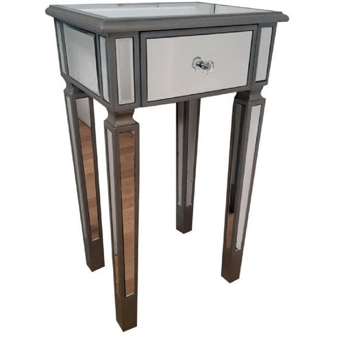 Venetian mirrored silver side table